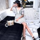 Dress Summer of 2018 white Seven days no reason to return XS S M L Short skirt singleton  Short sleeve street V-neck High waist other zipper Pleated skirt routine Others Type H Xueyuan style 51% (inclusive) - 70% (inclusive) Chiffon polyester fiber Europe and America
