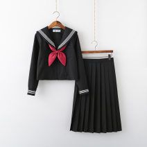 student uniforms Winter of 2019, autumn of 2019 S.,M.,L.,XL.,XXL. Long sleeves solar system skirt 18-25 years old Xuanqimei pure cotton Black three books 81% (inclusive) - 90% (inclusive)