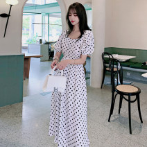 Dress Summer 2021 Black and white dots S M L XL longuette singleton  Short sleeve commute square neck High waist Dot Socket A-line skirt puff sleeve 18-24 years old Type A Jonana Korean version printing More than 95% Chiffon other Other 100% Pure e-commerce (online only)