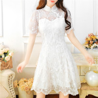 Dress Summer 2021 white S M L Middle-skirt singleton  Short sleeve commute stand collar High waist Solid color Socket A-line skirt routine Others 25-29 years old Type A Jonana Korean version Lace More than 95% Lace other Other 100% Pure e-commerce (online only)