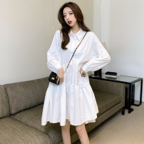 Dress Spring 2021 White black S M L XL longuette singleton  Long sleeves commute Polo collar High waist Solid color Socket A-line skirt routine Others 18-24 years old Type A Jonana Korean version Fold asymmetric button More than 95% other other Other 100% Pure e-commerce (online only)
