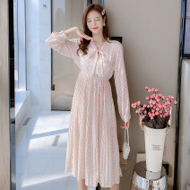 Dress Spring 2021 Picture color S M L XL longuette singleton  Long sleeves commute V-neck High waist Broken flowers Socket A-line skirt routine Others 25-29 years old Type A Jonana lady printing More than 95% Chiffon other Other 100% Pure e-commerce (online only)