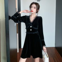 Dress Spring 2021 black S M L XL Short skirt singleton  Long sleeves commute V-neck High waist Solid color Socket A-line skirt routine 25-29 years old Type A Jonana Korean version Button lace More than 95% other other Other 100% Pure e-commerce (online only)