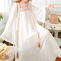 Dress Summer 2021 White green S M L longuette Two piece set Long sleeves commute other High waist Solid color Socket Big swing routine Others 18-24 years old Type A Jonana Retro Embroidery More than 95% Chiffon other Other 100% Pure e-commerce (online only)