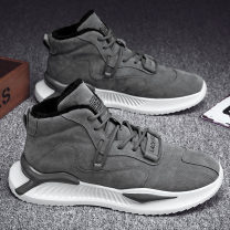 High shoes 39 40 41 42 43 44 Artificial short plush Round head Frenulum Artificial leather Two layer pigskin Artificial short plush The trend of youth rubber daily winter Solid color Thick bottom Adhesive shoes keep warm Youth (18-40 years old) High top board shoes Sewing Middle heel (3-5cm)