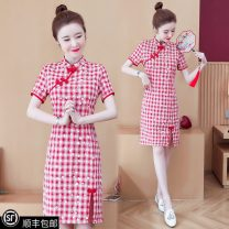 Dress Summer 2021 gules L (recommended 800-100 kg), l (recommended 100-115 kg), XL (recommended 115-130 kg), 2XL (recommended 130-145 kg), 3XL (recommended 145-160 kg), 4XL (recommended 160-180 kg), collection and purchase ★ priority delivery Middle-skirt singleton  Short sleeve commute stand collar