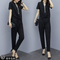 Women's large Summer 2021 black Big l [suggested 90-115 Jin], big XL [suggested 115-135 Jin], big 2XL [suggested 135-155 Jin], big 3XL [suggested 155-175 Jin], big 4XL [suggested 175-200 Jin], collection and additional purchase is preferred Two piece set street easy moderate Socket Short sleeve