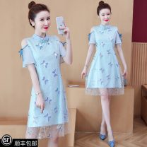 Dress Summer 2021 wathet M (recommended 80-95 kg), l (recommended 100-115 kg), XL (recommended 115-130 kg), 2XL (recommended 130-145 kg), 3XL (recommended 145-160 kg), 4XL (recommended 160-180 kg), collection and purchase ★ priority delivery Middle-skirt singleton  Short sleeve stand collar lattice