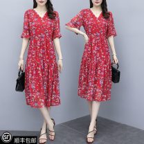 Dress Summer 2021 Picture color L (recommended 100-115 kg), XL (recommended 115-130 kg), 2XL (recommended 130-145 kg), 3XL (recommended 145-160 kg), 4XL (recommended 160-180 kg), 5XL (recommended 180-200 kg), collection and purchase ★ priority delivery Mid length dress singleton  Short sleeve commute