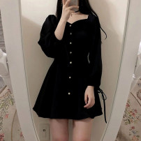 Dress Autumn 2020 black S M L XL 2XL Short skirt singleton  Long sleeves commute square neck High waist Solid color Single breasted A-line skirt routine Others 18-24 years old Type A Hemosa Korean version Frenulum H2902 51% (inclusive) - 70% (inclusive) other polyester fiber