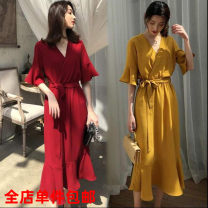 Dress Summer 2020 M,L,XL,XXL Middle-skirt singleton  Short sleeve commute V-neck middle-waisted Solid color Socket Ruffle Skirt 18-24 years old Retro