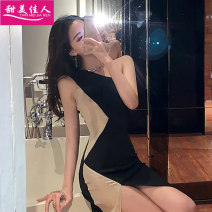 Dress Summer of 2019 Picture color S M L Short skirt singleton  Sleeveless commute Slant collar High waist Solid color Socket One pace skirt routine Oblique shoulder 18-24 years old Type H Sweet girl Korean version Splicing T30245# More than 95% brocade polyester fiber Other polyester 95% 5%