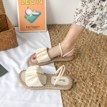 Sandals 35 36 37 38 39 40 Green Beige light brown upgrade Beige upgrade Green Upgrade Brown PU Dinino Barefoot Flat bottom Flat heel (1cm or less) Summer 2020 Trochanter Korean version Solid color Adhesive shoes Youth (18-40 years old) rubber sandy beach Front and rear trip strap Ribbon Roman style