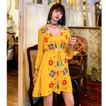 Dress Summer 2020 White, blue, yellow Average size Short skirt singleton  three quarter sleeve commute V-neck High waist Solid color Socket A-line skirt routine Others 18-24 years old Type A ethnic style Embroidery 51% (inclusive) - 70% (inclusive) brocade polyester fiber