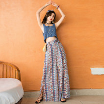 Casual pants blue S,M,L Summer 2020 trousers Wide leg pants High waist Sweet Thin money 25-29 years old 71% (inclusive) - 80% (inclusive) polyester fiber Bandage Asymmetry Bohemia