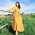 Dress Autumn 2020 yellow S,M,L,XL longuette singleton  Long sleeves commute Crew neck High waist Solid color Socket Big swing Petal sleeve Others 25-29 years old Type A court Strap, splice, tie 81% (inclusive) - 90% (inclusive) other genuine leather