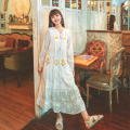 Dress Spring 2021 white S,M,L,XL longuette singleton  Long sleeves Sweet V-neck Loose waist Solid color Socket Big swing bishop sleeve Others 18-24 years old Type H Tassel, lace, gauze net, bandage, embroidery 71% (inclusive) - 80% (inclusive) Lace Mori