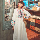 Dress Autumn 2020 White, red, yellow, 8085 white, 8085 dark blue, 8085 red S,M,L,XL longuette singleton  Long sleeves commute V-neck High waist Solid color Socket bishop sleeve Others 18-24 years old Type H ethnic style tassels 71% (inclusive) - 80% (inclusive) brocade cotton