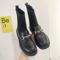 Boots 35 36 37 38 39 Black PU Yu Ziwei Middle heel (3-5cm) Flat bottom PU Short tube Round head cloth cloth Autumn 2020 Sleeve solar system polyurethane Solid color Fashion boots Adhesive shoes cloth Youth (18-40 years old) spring and autumn Metal decoration yzw751200 Women's routine