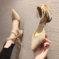 Sandals 35 36 37 38 39 Apricot Black Pink cloth Yu Ziwei Sharp point Thick heel Low heel (1-3cm) Summer 2021 Frenulum grace Solid color Adhesive shoes Youth (18-40 years old) polyurethane daily Bag heel Thick heel Low Gang Lateral space PU PU yzw653737 Fashion sandals Pure e-commerce (online only)