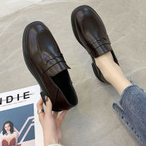 Low top shoes 35 36 37 38 39 Yu Ziwei Brown Black Square head PU Thick heel Low heel (1-3cm) Shallow mouth PU Autumn 2020 Trochanter Korean version Adhesive shoes Youth (18-40 years old) Solid color rubber Single shoes PU leisure time Pure e-commerce (online only)