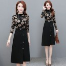 Dress Spring 2021 printing L XL 2XL 3XL 4XL 5XL Mid length dress singleton  Long sleeves commute Crew neck High waist Decor Socket A-line skirt routine Others 35-39 years old Type A Corrpril / Cobell Korean version 020H/11.27bbbbb More than 95% polyester fiber Polyester 95.00% others 5.00%
