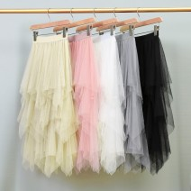 skirt Summer of 2019 Average size Pink apricot grey white black Mid length dress Versatile High waist Irregular Solid color Type A 18-24 years old YS88347 More than 95% Crnagoose / Xiangna goose other Asymmetric wave mesh splicing Other 100.00% 201g / m ^ 2 (including) - 250G / m ^ 2 (including)