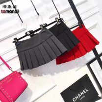 skirt Summer of 2019 S M L XL Black red white gray black zipper red zipper white zipper gray zipper Short skirt commute High waist A-line skirt More than 95% Crnagoose / Xiangna goose other Pleating court Other 100%