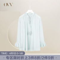 T-shirt Light blue 03 light green 04 S M L XL XS Spring of 2019 Long sleeves Half high collar Straight cylinder Regular Lotus leaf sleeve commute cotton 71% (inclusive) - 85% (inclusive) 25-29 years old OVV GNSAJ19002A Cotton 78% Silk 22% Same model in shopping mall (sold online and offline)