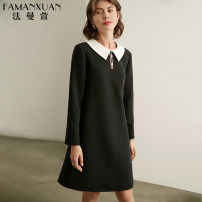Dress Spring 2021 black S M L XL Mid length dress singleton  Long sleeves commute Doll Collar middle-waisted Solid color A button other routine Others 30-34 years old Type H Famanxuan Ol style Button LYQ2249 51% (inclusive) - 70% (inclusive) other polyester fiber Pure e-commerce (online only)