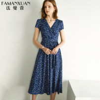 Dress Summer 2021 Dark blue and white flowers (within 20 days after payment) 160/84A/S 165/88A/M 170/92A/L 175/96A/XL longuette singleton  Short sleeve commute V-neck middle-waisted Broken flowers Socket other puff sleeve Others 30-34 years old Type X Famanxuan Ol style zipper LYQ2415 other silk