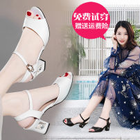 Sandals Black and white Kazhu PU Fish mouth Thick heel High heel (5-8cm) Summer 2013 Flat buckle Korean version Solid color Adhesive shoes rubber daily