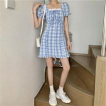 Women's large Summer 2020 Blue Plaid Skirt S M L XL Dress cotton L1535A Ze Mengyun Other 100% Pure e-commerce (online only)