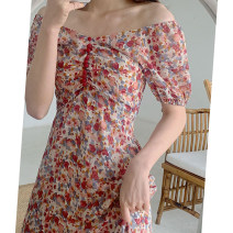Women's large Summer 2020 Pink short pink long S M L XL Dress singleton  commute Self cultivation moderate Socket Short sleeve Broken flowers V-neck routine L982 Ze Mengyun 18-24 years old Medium length Other 100% Pure e-commerce (online only)