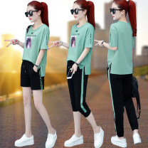 Women's large Summer 2020 M L XL 2XL 3XL 4XL Other oversize styles Two piece set commute easy thin Socket Short sleeve Alphabetic characters Korean version Crew neck routine printing and dyeing other Made in Europe 30-34 years old Bandage Cotton 95% polyurethane elastic fiber (spandex) 5%