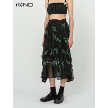skirt Summer of 2019 XS,S,M Khaki / stock, black + Green Bow / stock, Khaki / order, black + Green Bow / order Mid length dress Natural waist Cake skirt Solid color Type A 25-29 years old MA19SSS09(34) 81% (inclusive) - 90% (inclusive) other Other / other other