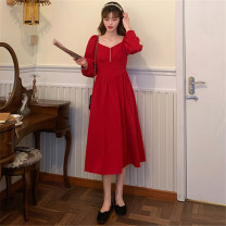 Dress Autumn 2020 gules Average size Middle-skirt singleton  Long sleeves commute square neck High waist Solid color other Princess Dress routine Others 18-24 years old Type A Mushiti Korean version DL2662* More than 95% polyester fiber Polyester 100% Pure e-commerce (online only)