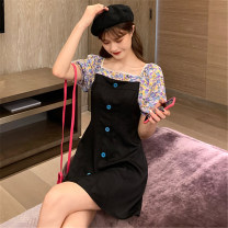 Dress Summer 2020 black Average size Short skirt singleton  Short sleeve commute square neck High waist Hand painted other other puff sleeve Others 18-24 years old Mushiti Korean version Button DL2018# More than 95% other polyester fiber Polyester 100% Pure e-commerce (online only)