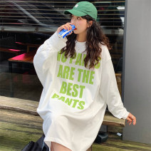 Dress Autumn 2020 White blue green Average size Mid length dress singleton  Long sleeves commute Crew neck Loose waist letter other other other Others 18-24 years old Mushiti Korean version printing AK1105* 71% (inclusive) - 80% (inclusive) polyester fiber Polyester 74.5% cotton 25.5%