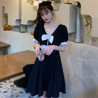 Dress Summer 2020 black Average size Short skirt singleton  Short sleeve commute V-neck High waist other Socket other puff sleeve Others 18-24 years old Mushiti Retro bow DL2047 More than 95% other polyester fiber Polyester 100% Pure e-commerce (online only)