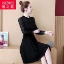 Dress Autumn of 2019 black L XL 2XL 3XL 4XL 5XL Mid length dress singleton  Long sleeves commute Crew neck Loose waist Solid color Socket other other Others 35-39 years old Type A The song of nobility Korean version Three dimensional decoration More than 95% polyester fiber Other polyester 95% 5%