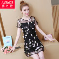 Women's large Summer of 2019 black L XL 2XL 3XL 4XL 5XL Dress singleton  commute Straight cylinder thin Socket Short sleeve Flower plant shape Korean version Crew neck Medium length Polyester others Three dimensional cutting routine The song of nobility 35-39 years old Embroidery Medium length other