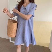 Dress Summer 2021 Light blue Average size Middle-skirt singleton  Short sleeve commute Doll Collar Loose waist Solid color Single breasted Pleated skirt routine Others 18-24 years old Type H Korean version Splicing 81% (inclusive) - 90% (inclusive) other other