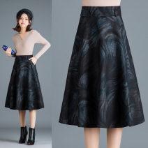 skirt Autumn 2020 Size 9: waist 2 feet, size 11: waist 2 feet 1, size 13: waist 2 feet 2, size 15: waist 2 feet 3, size 17: waist 2 feet 4, size 19: waist 2 feet 5, waist 2 feet 6, waist 2 feet 7 B: n5907 picture color, a: n5907 picture color Mid length dress commute High waist A-line skirt Decor