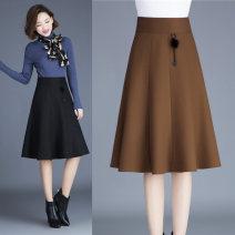 skirt Winter 2020 Size 9: waist 2 feet, size 11: waist 2 feet 1, size 13: waist 2 feet 2 feet 2, size 15: waist 2 feet 3, size 17: waist 2 feet 4, size 19: waist 2 feet 5, size 21: waist 2 feet 6 N5835 black, n5835 Camel Middle-skirt grace High waist A-line skirt Solid color Wool