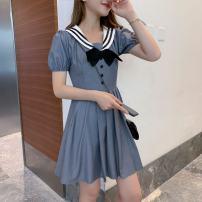Dress Autumn of 2019 Grey short sleeves S, M Short skirt singleton  Long sleeves V-neck High waist Solid color Socket Pleated skirt routine 18-24 years old