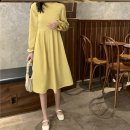 Dress Autumn 2020 Apricot vest piece, black dress piece, yellow dress piece Average size longuette singleton  Long sleeves commute Crew neck High waist Solid color Socket A-line skirt pagoda sleeve Others 18-24 years old Type A Other / other G46433 30% and below other other