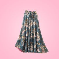 skirt Summer of 2019 XL 125-150kg, l 75-125kg longuette Versatile High waist A-line skirt Decor Type A 25-29 years old XXL15 More than 95% Chiffon Other / other polyester fiber Bowknot, lace, resin fixation, stitching, printing 201g / m ^ 2 (including) - 250G / m ^ 2 (including)