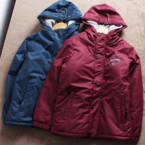 Cotton padded jacket neutral No detachable cap Cotton 96% and above Other / other Burgundy, Navy 130cm (size 10), 140cm (size 12), 150cm (size 14), 160cm (size 16) routine Zipper shirt Europe and America No model Solid color other other stand collar Other 100% Cotton liner C092 Polyester 100%