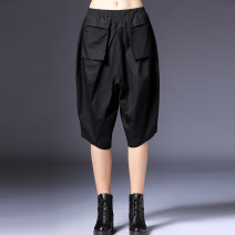 Casual pants black M,L,XL Summer 2020 Cropped Trousers Wide leg pants Natural waist street Thin money 96% and above Honey management cotton cotton Europe and America